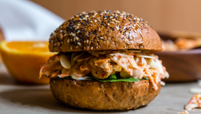 Chermoula Chicken Burger + Harissa Orange Coleslaw