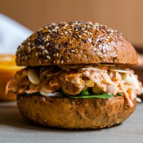 Chermoula Chicken Burger + Harissa Orange Coleslaw