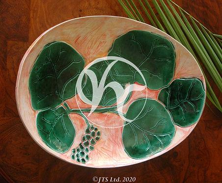 JTSL Oval Seagrape Sgrafitto Tray