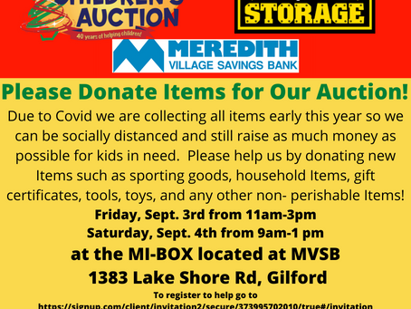 Children's Auction Item Drive on Sept 3rd and Sept 4th!