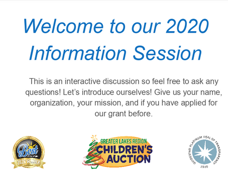 Children's Auction to Hold Info Sessions on Applying for Funds