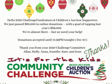 Join us for the 2020 Community Challenge Celebration  Zoom call Thursday, Dec 10 at 4pm