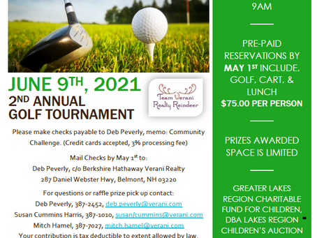 Register for the June 9th Annual Golf Tournament by Team Verani Realty Reindeer