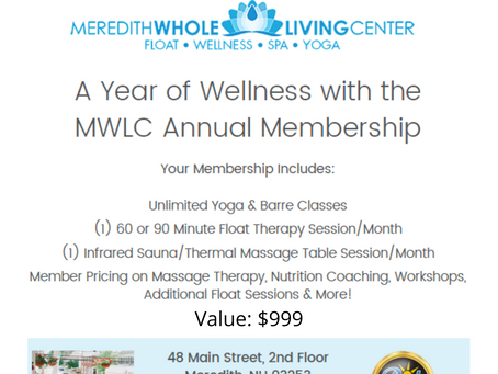 Meredith Whole Living Center donates a full year membership