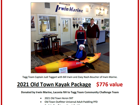 Irwin Marine donates a 2021 Old Town Kayak packge for Tagg Team!