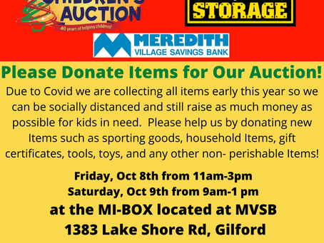 Children's Auction Fill the MI-BOX on Oct 8th and 9th at Meredith Village Savings Bank!