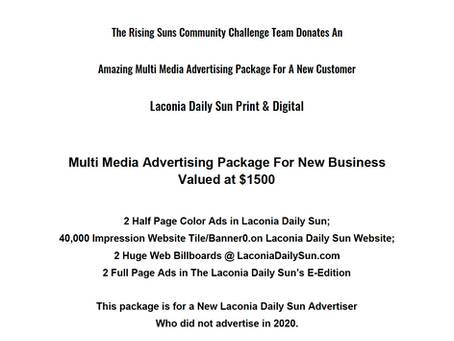 Laconia Daily Sun donates some amazing Multi Media Advertising Packages