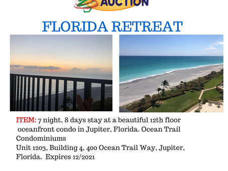 Gilford Hills Challenge Team offers up a 7 night stay in an oceanfront condo in Jupiter, Florida!