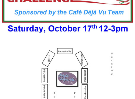 Café Deja Vu team Drive / Walk Thru Fundraiser on Saturday, October 17th