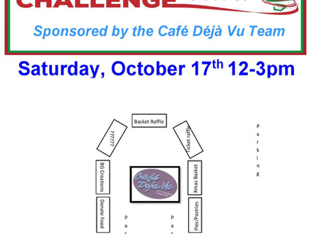 Café Deja Vu team Drive / Walk Thru Fundraiser on Saturday, October 17th