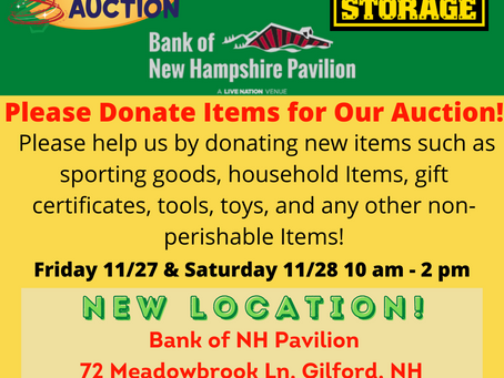 Item Collection to be held at the Bank of NH Pavilion on Nov 27-28!