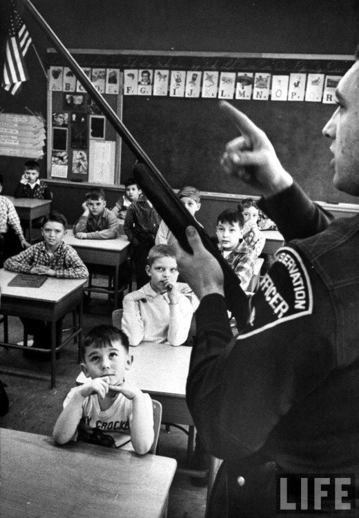 A gun safety demonstration in an Indiana classroom ca.1950
