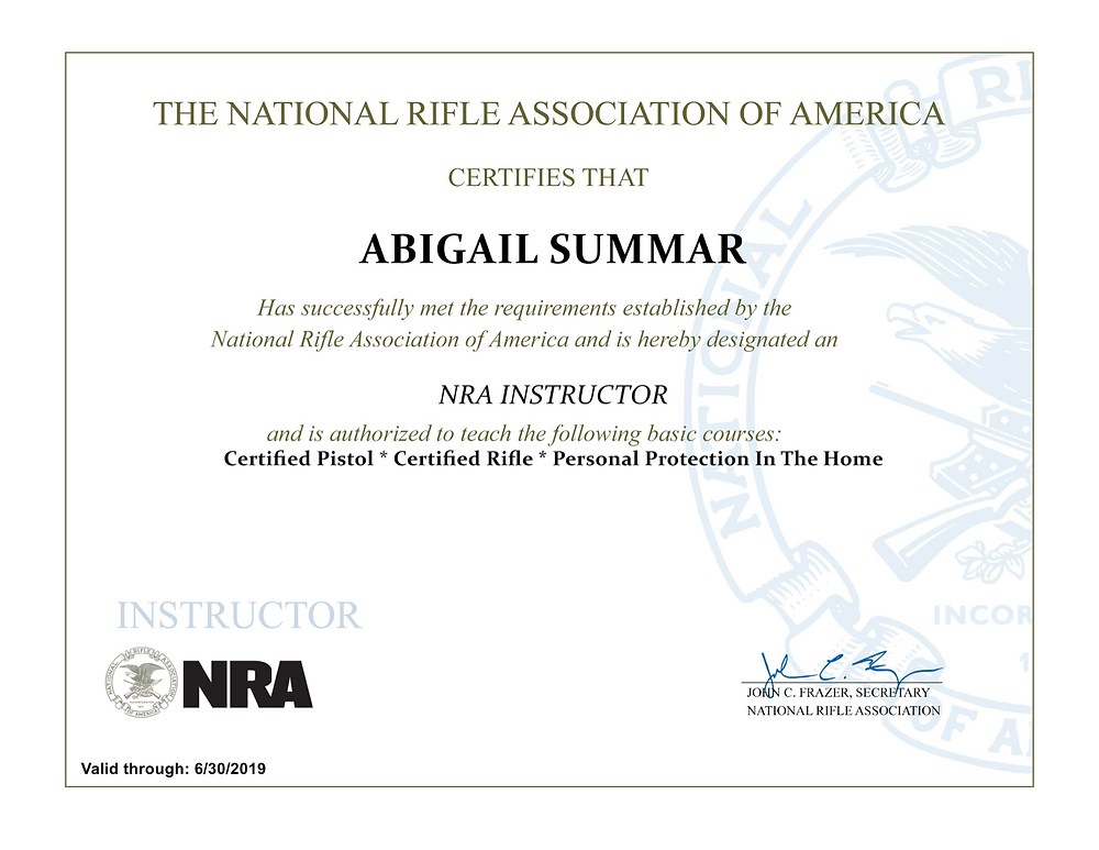 Abigail Summar is an NRA Certified Instructor and Chief Range Safety Officer at Mountain Rose Defensive Training one hour north of Atlanta, GA.