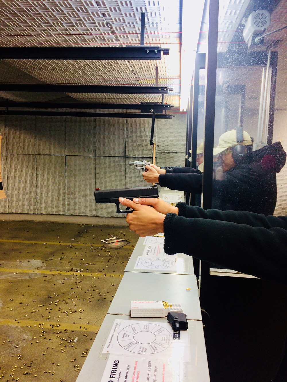 Guns pointed downrange, always.