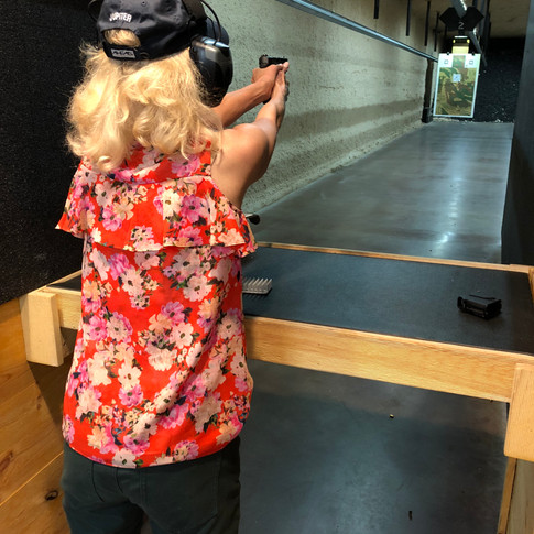 This pistol-packin' mama is a fantastic shot, thanks to private instruction and diligent practice.