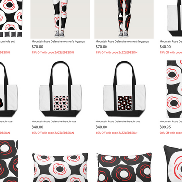 Clothes, accessories, and other items centered around our iconic rose design.