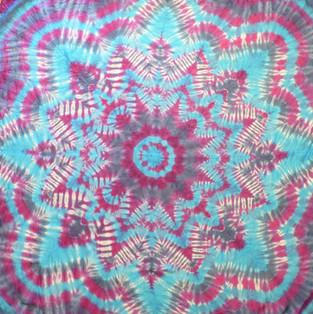 Mandala Silk Scarf purple and blue
