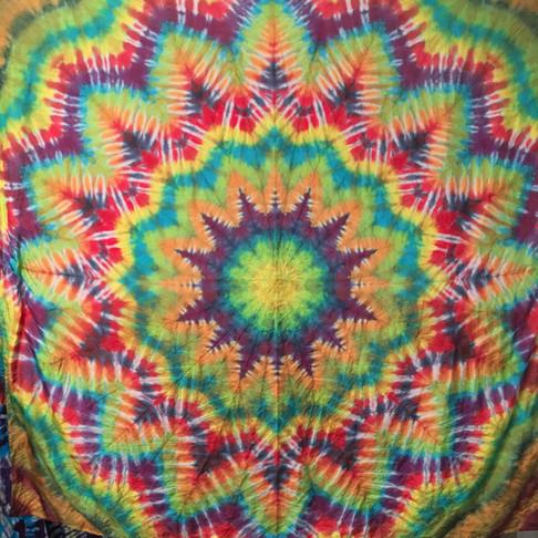 Rainbow Mandala on Silk