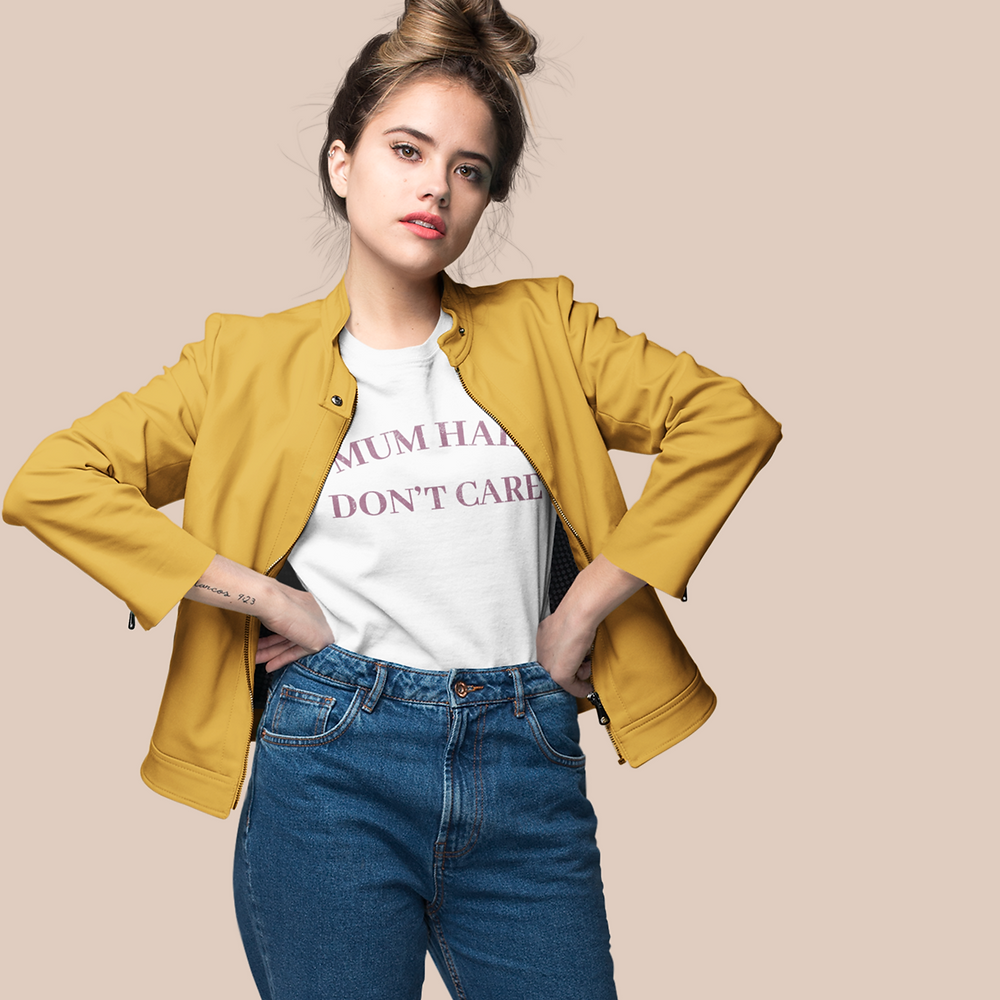 Model wearing t-shirt that reads 'Mum Hair Don't Care'