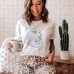 Line Art Woman's Face  (White) - T-Shirt