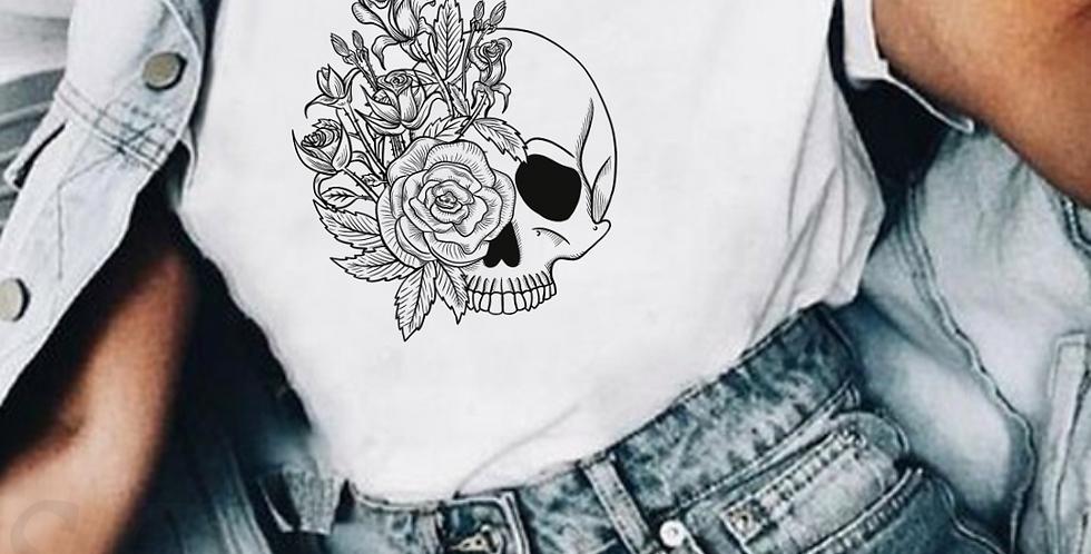 Skull With Roses - White T-Shirt