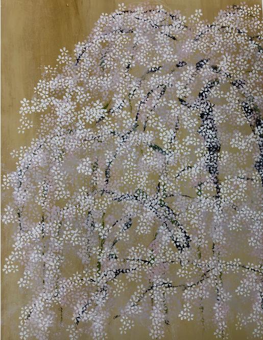 アートのワークショップにて。誰でも簡単に桜のアートが描けます!インテリアコーディネーターのブログ。