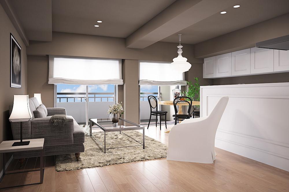 白い建具や家具が映えるグレージュの壁紙 マンションのリビングのインテリア実例