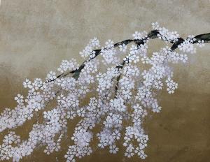 アート作品作りのワークショップにて。受講生の桜の作品。インテリアコーディネーターのブログ。