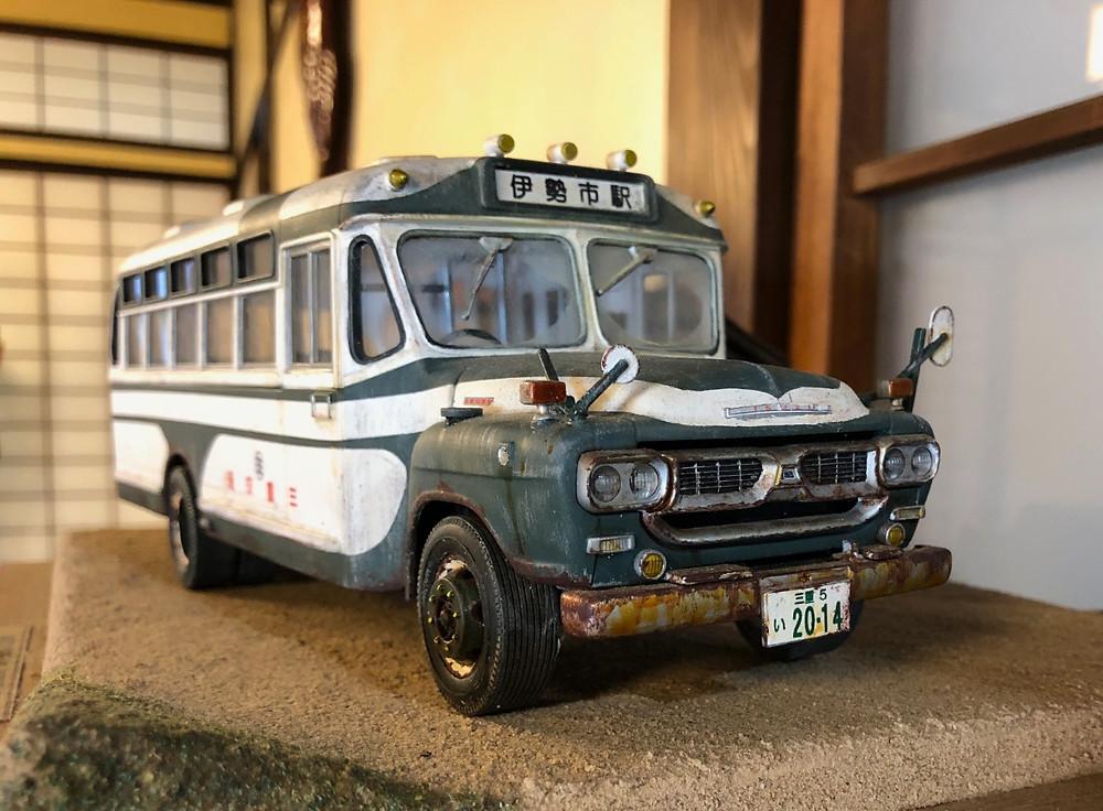 三重交通のバスのレトロなフィギュア。伊勢市駅ゆき。伊勢河崎商人館にて。インテリアコーディネーターのブログ。
