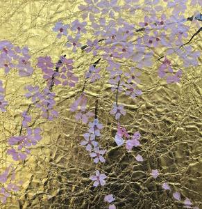 アート教室に参加した受講者の作品。ゴージャスな桜の作品が簡単にできました!ブログ。