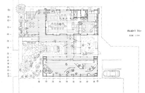 ガン患者さんがいつでも無料で相談できるマギーズハウス東京。リラックスできるような建築にしたそうです。インテリアコーディネーターのブログ