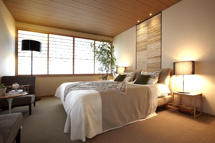 寝室のインテリア実例。住友林業の住宅展示場。インテリアブログ。