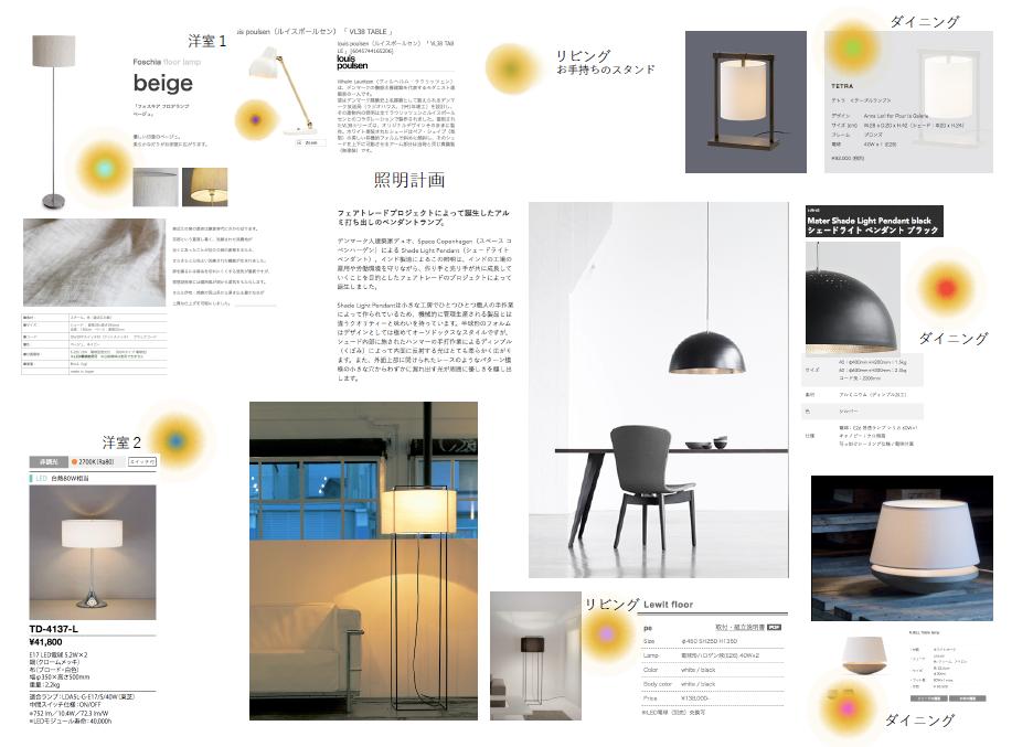 照明プランのプランボード。インテリアコーディネーターのセミナーについてのブログです。