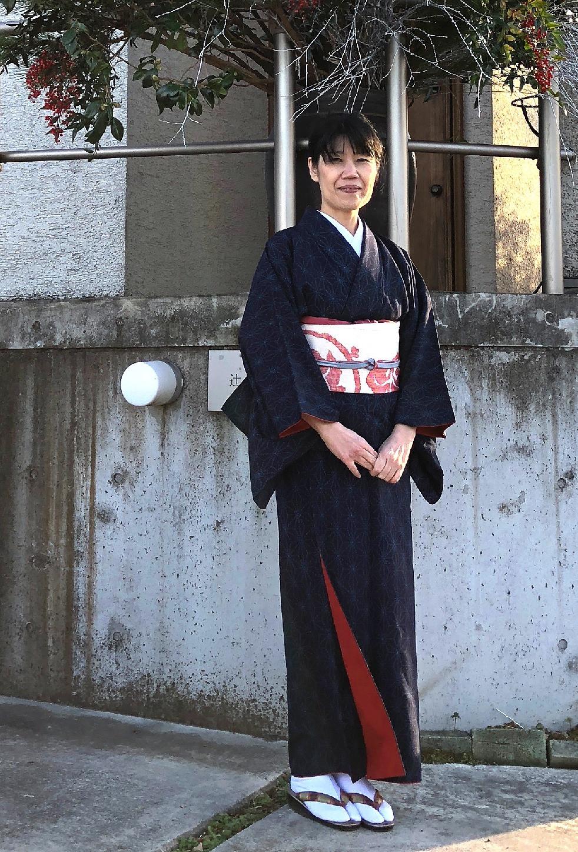 麻の葉模様の紬のお着物。インテリアコーディネーターのブログ。