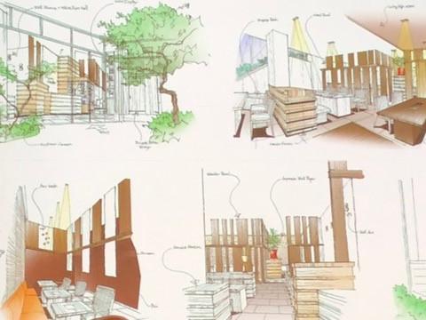 エイトデザイン藤井信介さんのパーススケッチ。CGより手書きの方がイメージできるそう。インテリアコーディネーターのブログ