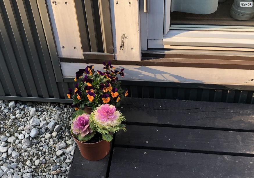岡山県倉敷市のトレーラーハウスの仮設住宅。花を飾っている被災者の暮らし。ブログ。