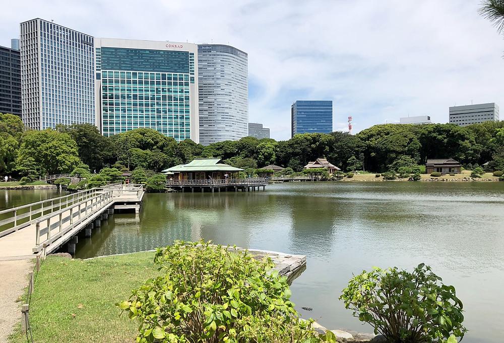 浜離宮恩賜庭園 コンラッドホテル 回遊式庭園 海水湖 中島の茶屋