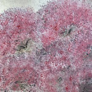 桜をイメージしたアート作品を絵画教室にて体験しました。インテリアコーディネーターのブログ。