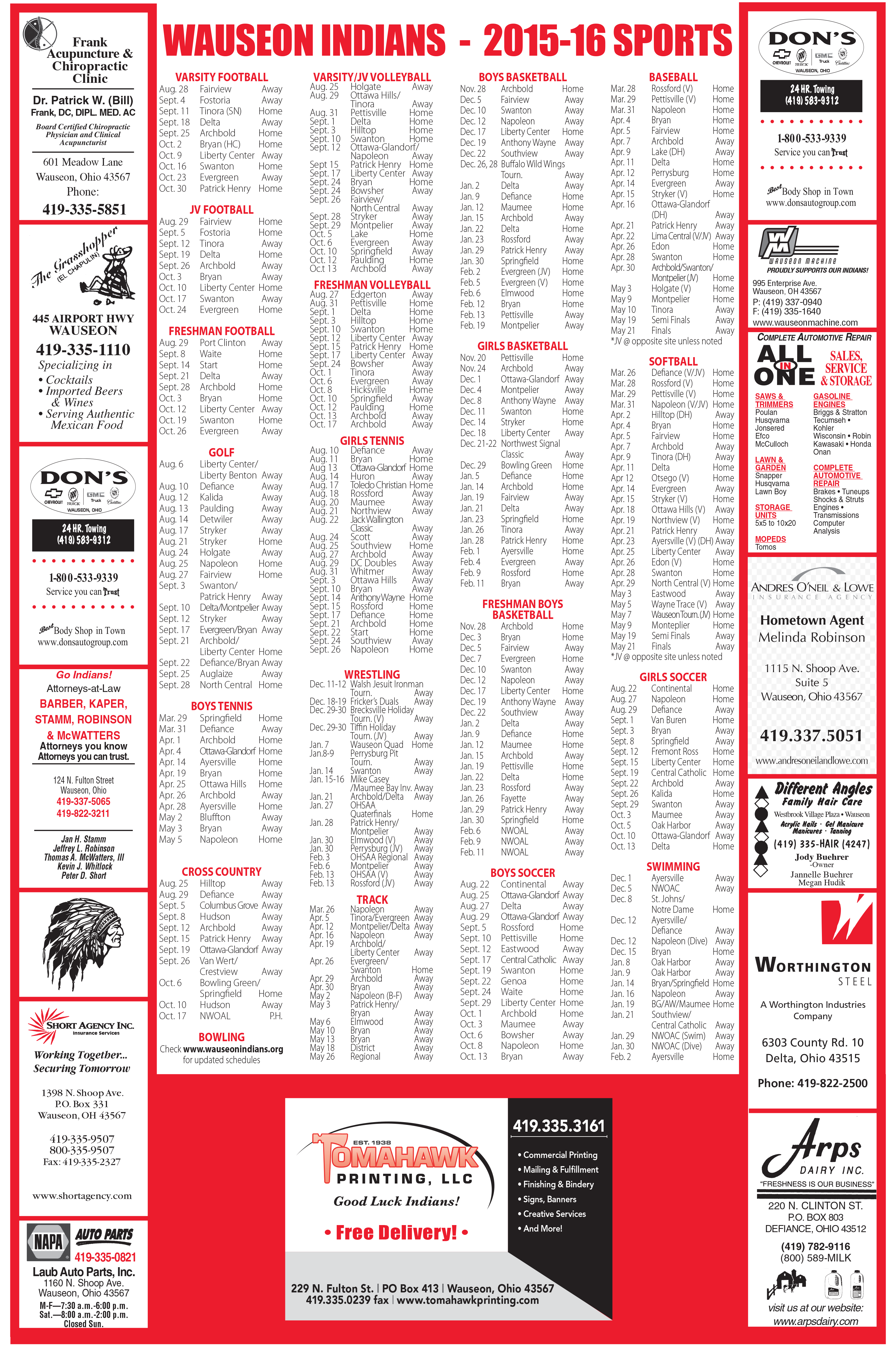 2016 Wauseon Athletic Poster