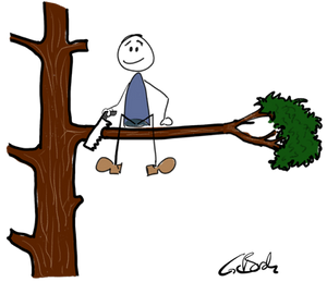 The picture shows a clipart in which a guy saws the branch on which he sits