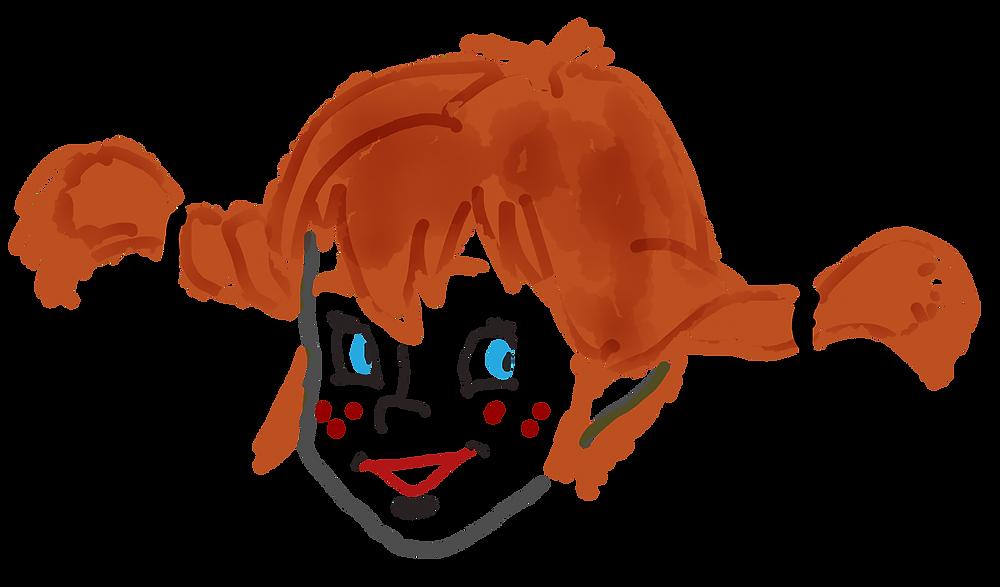 Das Bild zeigt den Kopf von Pippi Langstrumpf