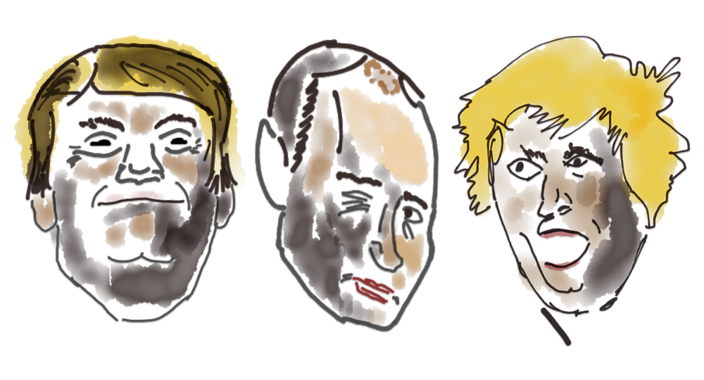 The picture shows sketches of Trump, Putin and Johnson