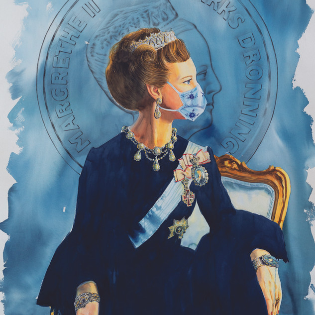 H.M Queen Margrethe II of Denmark '24k' (Royal Copenhagen Blue)