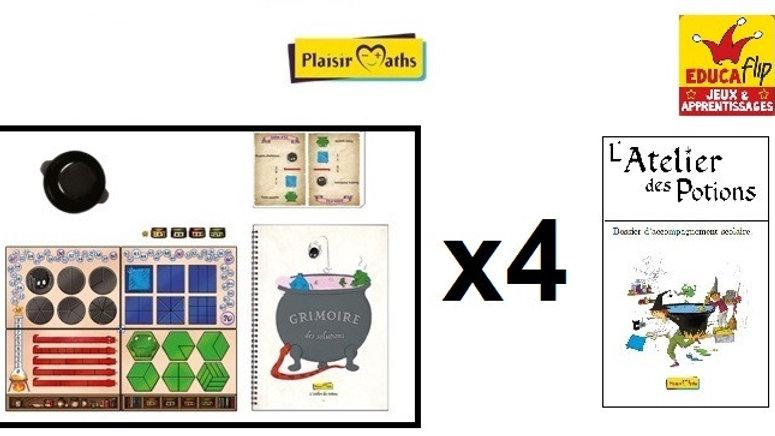 Atelier des Potions-Coffret scolaire 4 PLATEAUX : 4 élèves seul·es/8 en binôme