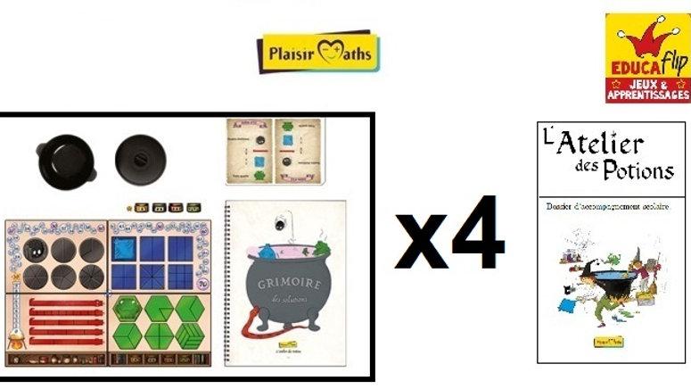 Atelier des Potions - Coffret scolaire 4 PLATEAUX (4 élèves en individuel)