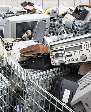 Old technology equipment in carts
