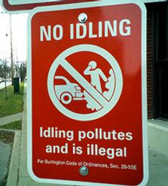 No Idling Sign in Burlington
