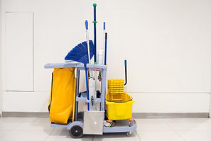 Cleaning tools cart wait for cleaning.Bu