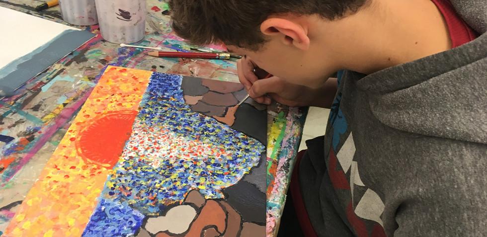 Pointillism Inspired Landscapes