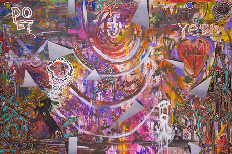 Title: Free Wifi By: Justin Hammer and Kasey Robinson Dimensions: 40 x 60 inches Year: 2017  Please inquire for pricing.